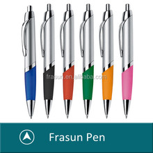 Stylish ball pen with metal clip and big refill/Rubber grip ball pen/comfort ball pen