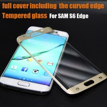 100%Tempered Glass Screen Protector Gold Color for Samsung Galaxy S6edge,Full Cover Screen Protector Film for S6edge