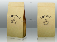 eco friendly customstand up kraft coffee bag wholesale /Kraft paper bag for coffee packing /kraft paper coffee flat bottom bags