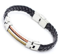 Leather Bracelets Bangles For Men's 2014 Fashion 18k Gold Charm Style Stainless Steel Button High Quality