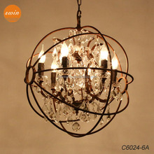 European vintage 6-lights clear crystal chandelier ,retro rustic iron round ORB pendant lamp in china