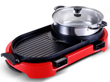 electric bbq grill with hot pot professional manufacture in steel kitchenware products HJ-BBQ002