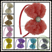 """IN STOCK 4.7""""Beaded Chiffon Rosette Flower With Rhinestone Buttons Baby Boutique Hair Bows Headband"""