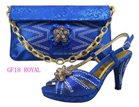 GF18 royal blue latest design high quality shoes and bags set / women matching shoes and bag