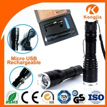 10W XML T6 LED Emergency USB 5 pin Aluminium Rechargeable Bright 2000 Luemns Flashlight Torch Lamp