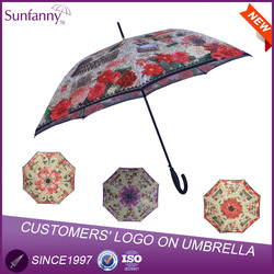 Zhejiang Factory 23inch 8K Auto Open Heat Transfer Printing Newspaper Fiberglass Ribs for Umbrella Photo Print Umbrellas