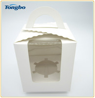 white cardboard cake boxes with window design