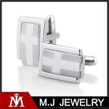 stainless steel silver rectangle cross fashion men's cuff links