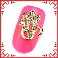 SH239 gold-plated 10*13mm Swan style Nail Art Decorations Luxurious 3d Nail Art Decoration Metallic Mails Design