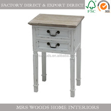 two drawers bed side table with wooden top