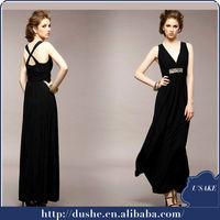 New arrival black v neck applique off shoulder muslim women long dress S306024