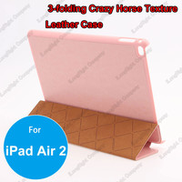 Ultra Slim Tri-fold Magnetic Smart Sleep Flip PU Leather Case Cover for iPad Air 2