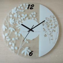 home decor orologio da parete di lusso di forma rotonda semplice disegno del fiore di vetro orologio da parete
