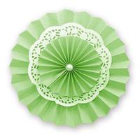 Lime Paper Lace Doilies Rosettes Paper Fans Backdrop Hanging Paper Fans Solid Color Party Round Pastel Hanging Decoration