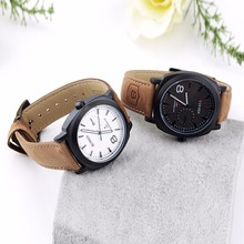 Hot quartz hour dial leather strap watch business men's sport military style wrist brand watch