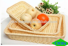 canasta de pan barato tejido plástico cesta de mimbre cesta de pan para vender
