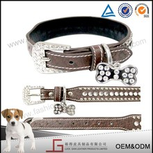 Luckgain new design Durable real cow leather pet dog large spiked collar by profesional pet products factory
