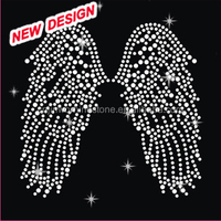 Breast Cancer Ribbon with Wings Hot Fix Iron on Transfer Rhinestone Bling U 1 12