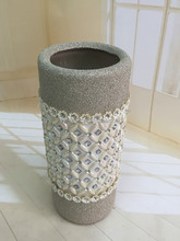 Frosted glass cylinder flower vase insert diamond&jewel for home decorativon or gift