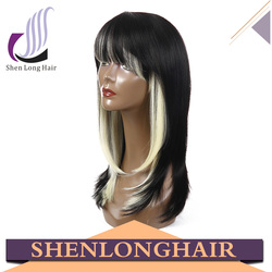 Wholesale Natural look premium silky straight wave wig grey mix wig for black women 1b gray synthetic lace front wig