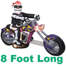 new products halloween outdoor decor inflatable grim reaper riding motorcycle