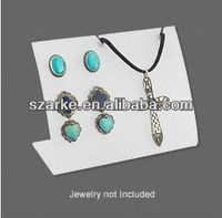 frosted white acrylic/plastic jewelry necklace/pendant/chain hanging display stand with two pair stud earrings display