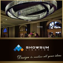 Unique design artistic Black circular crystal ring pendant lamp for hotel