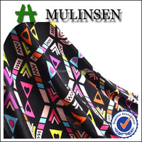 Mulinsen Textile Knit Jersey Polyester Spandex Geometric Printed FDY 4 Way Stretch Fabric Dress Material Wholesale
