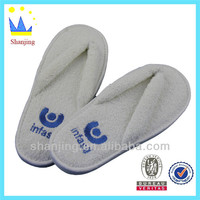high quality disposable flip flop terry material hotel slipper with logo