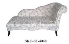 Printed fabric Wing back sofa beds with wood base and fabric covered
