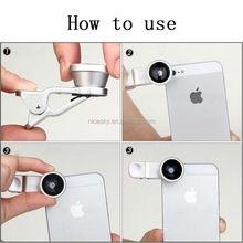 100pcs/lot universal clip 3 in 1 lens Fisheye Lens + Macro Lens + Wide-angle Lens for mobile phone Red