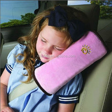 Plain plush shoulder protect neck support travel sleeping car seat belt pillow for kids and children