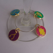 wine glasses metal charms set of 4