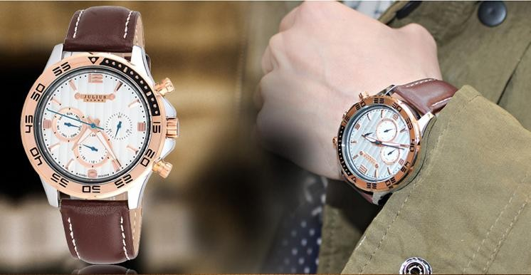 Мужские наручные часы юлий кварцевых часов лучший мода платье корея браслет марка кожа спорт часы круглый JAH061
