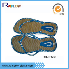 cutomized EVA woven straw flip flops with PU strap