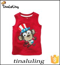 baby sleeveless children interesting monkeys printed t-shirts