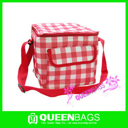 Hot sale disposable ice cooler bag with plaid fashion design