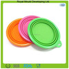 Candy color silicone reusable portable pet bowl, collapsible dog bowl