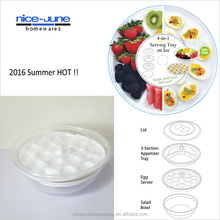 Plastic Chilled egg tray Multi-Use Iced Deep serving Tray Deviled Egg Tray with Lid