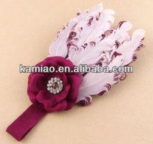 kids hair accessory feather elastic fancy top baby headband