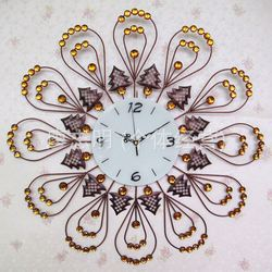 European-style garden decorative wrought iron wall clock hanging table Korean minimalist bedroom living room mute clock fashion