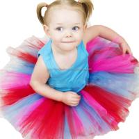 Children's princess skirt rainbow stripes dress children dance skirt baby girls ballet skirt tutu dress