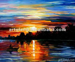 Palette knife boat painting for sale