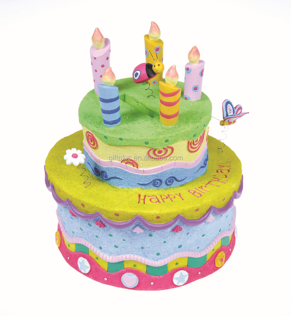 Rock petrus happy birthday birthday cake shaped coin bank buy coin resin coin bank like a birthday cake with flowers beetle and butterfly izmirmasajfo