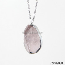 Natural Zircon Customize Pendant Shape Necklace Totally Natural Stone Necklace
