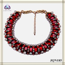 Imitation Ruby Bead Design Lady Necklace,Gold Necklace Jewelry