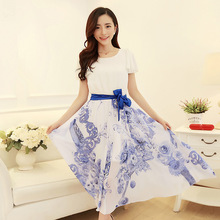 In summer new round neck was thin blue white Chinese style chiffon dress put on a large long section