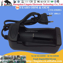 Europe plug 4.2V 600mA single slot universal battery charger for 3.7V li-ion battery 32650 26650 18650 made in China