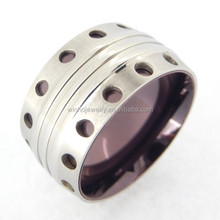 Aceon stainless steel drill hole plated laser engrave lover ring,316 stainless steel military rings