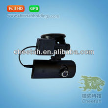 China hot sale two cameras security rearview car dvr with GPS hidden digital camera for cars